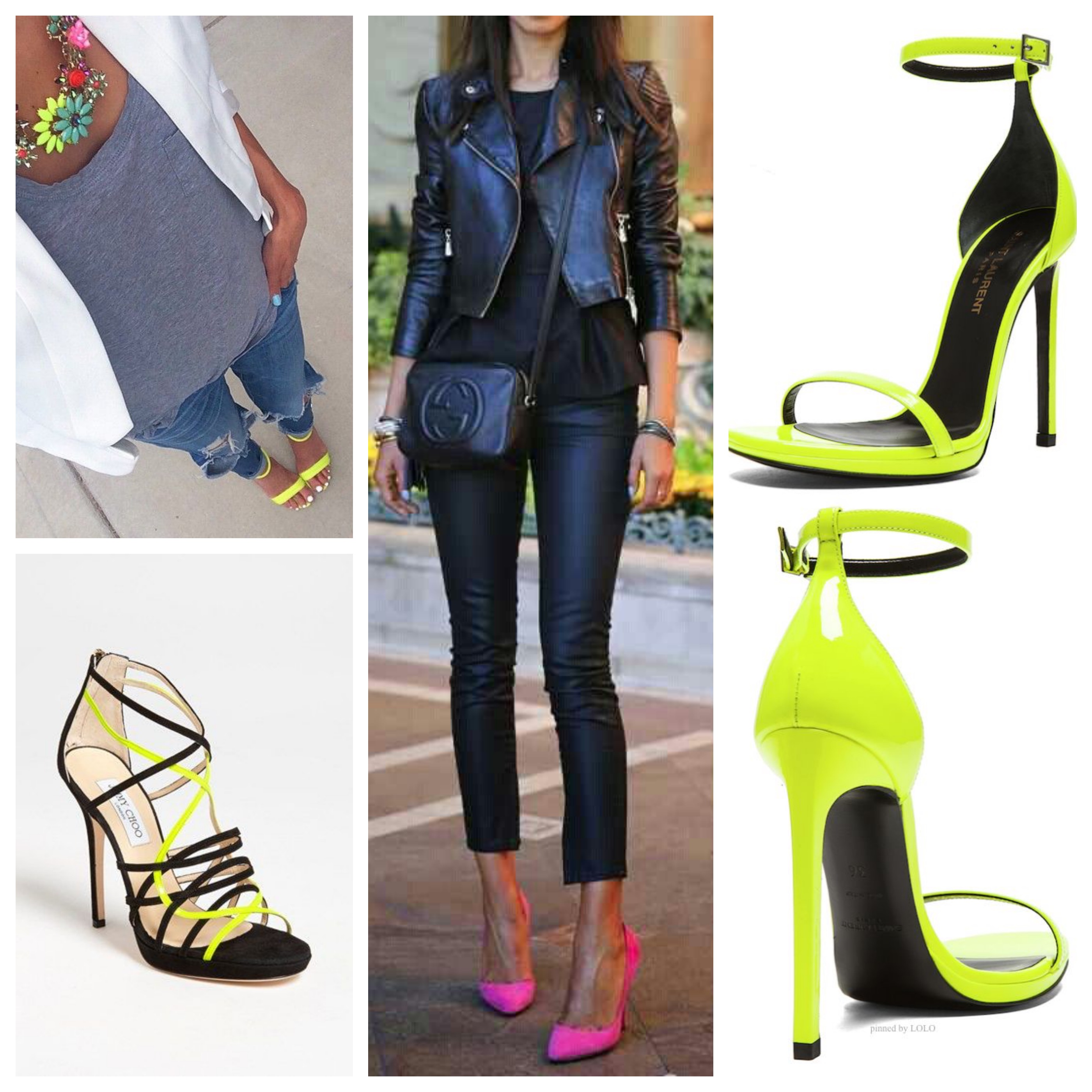 Neon Saint Laurent & Jimmy Choo Shoes