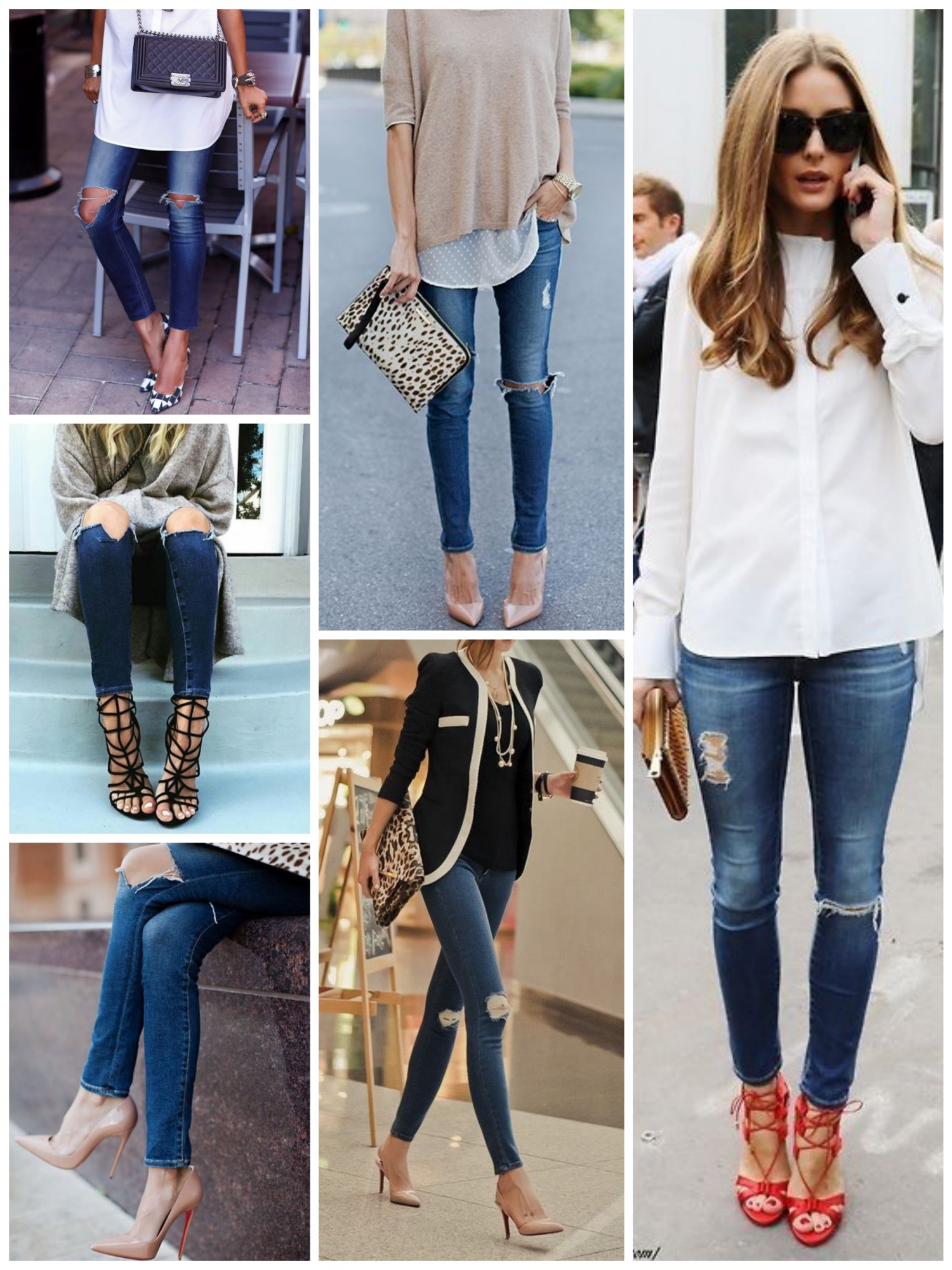 Ripped dark blue jeans