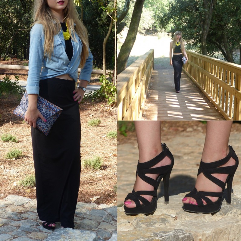 Total look noir en crop top & jupe longue