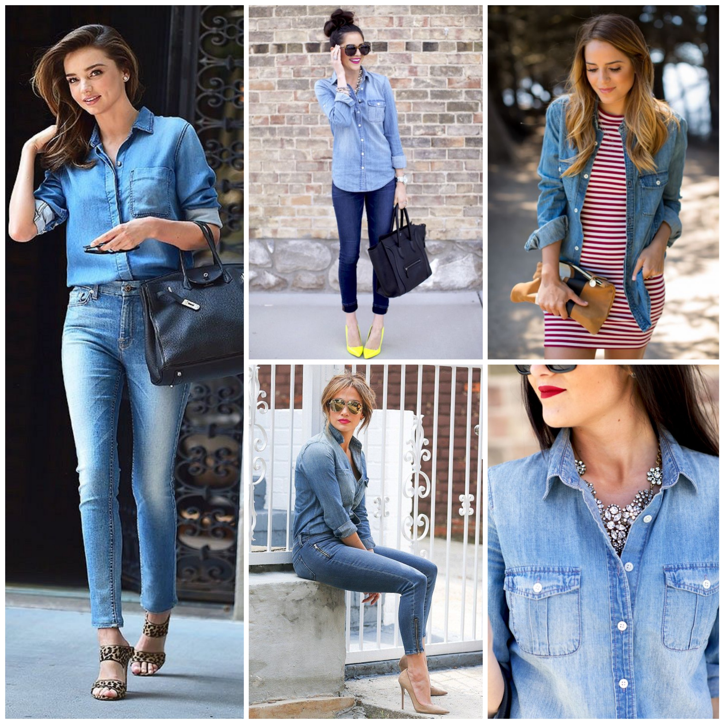 How to wear light blue chambray shirt