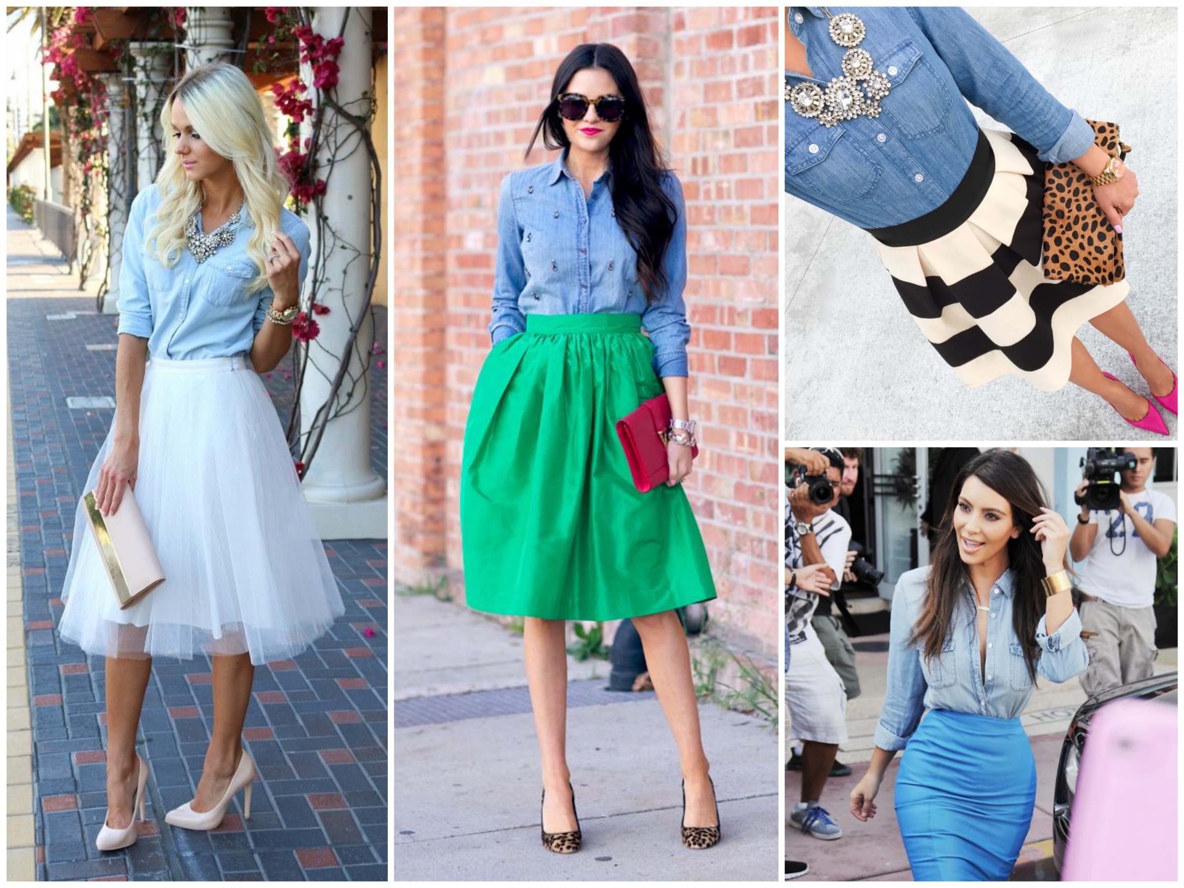 Pair your chambray shirt with a statement skirt