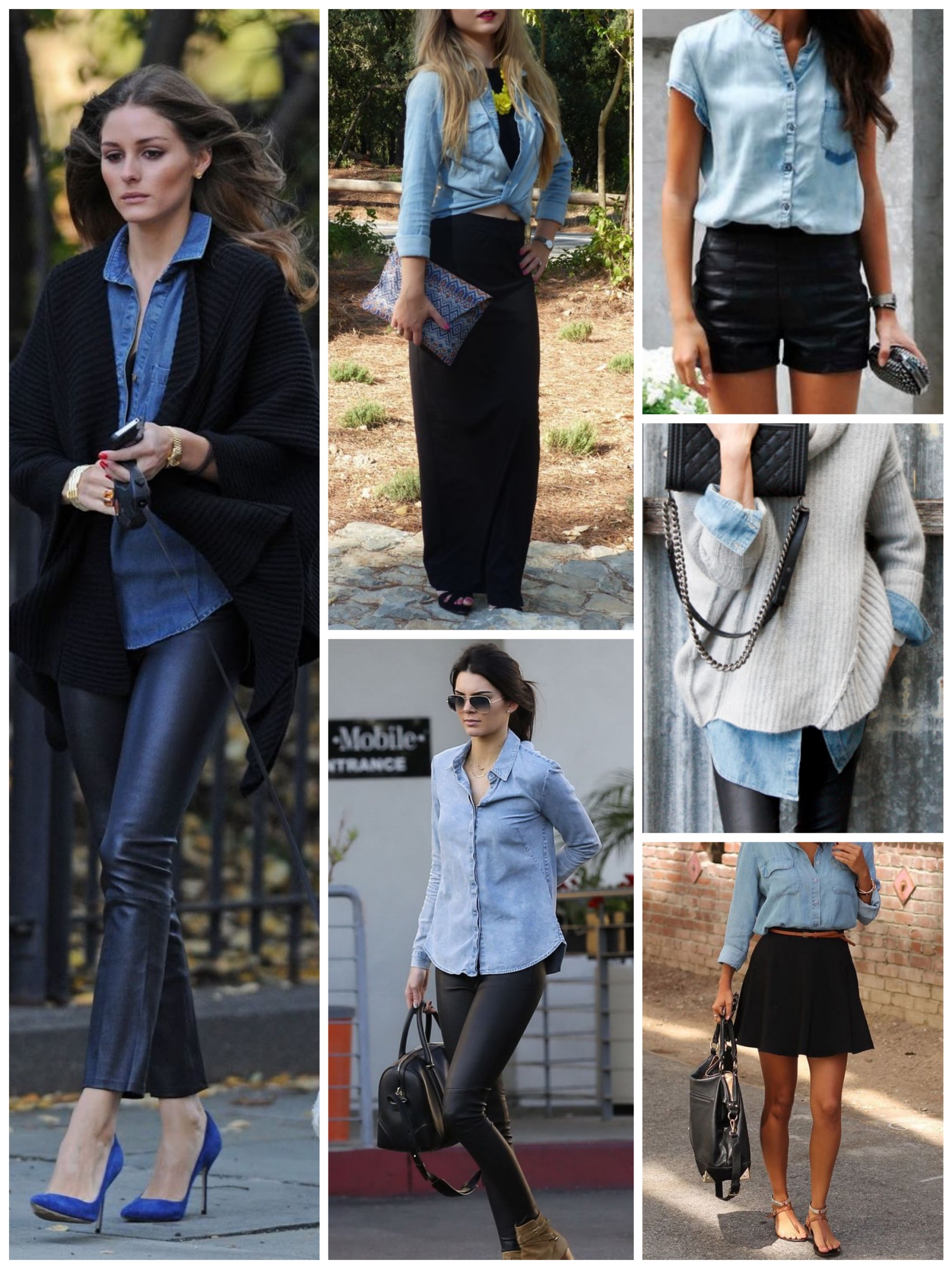 Pair your chambray shirt with black pieces