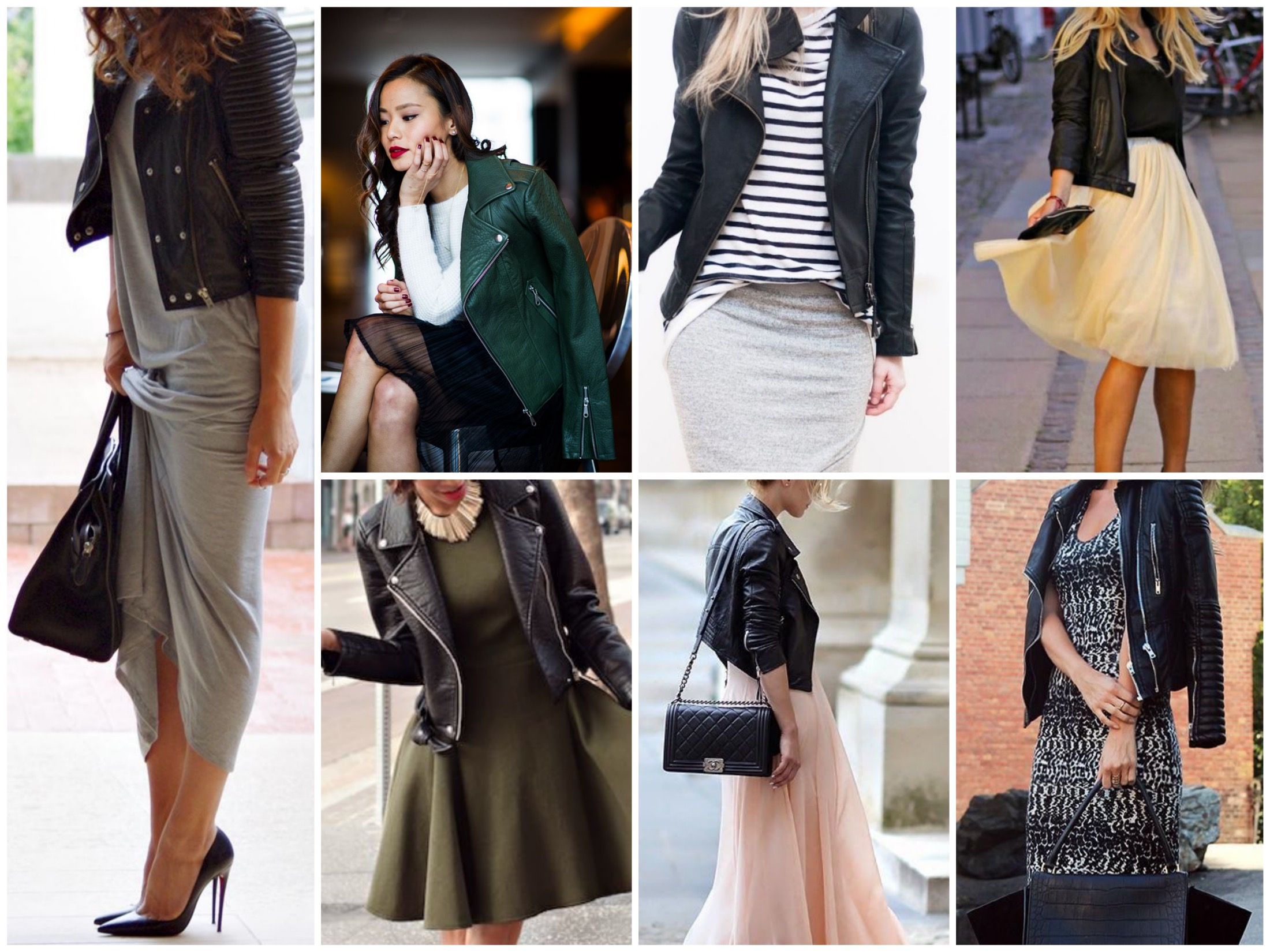 Wear your moto jacket with dresses & skirts for a feminine look