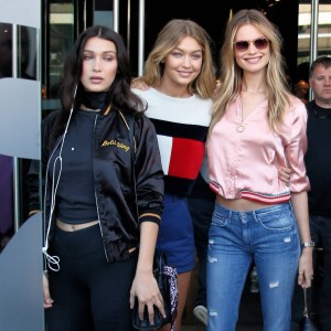Bella & Gigi Hadid and Behati Prinsloo leaving the Tommy Hilfiger Fashion Show