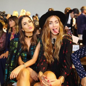 Camila Coelho & Chiara Ferragni before the DVF Show