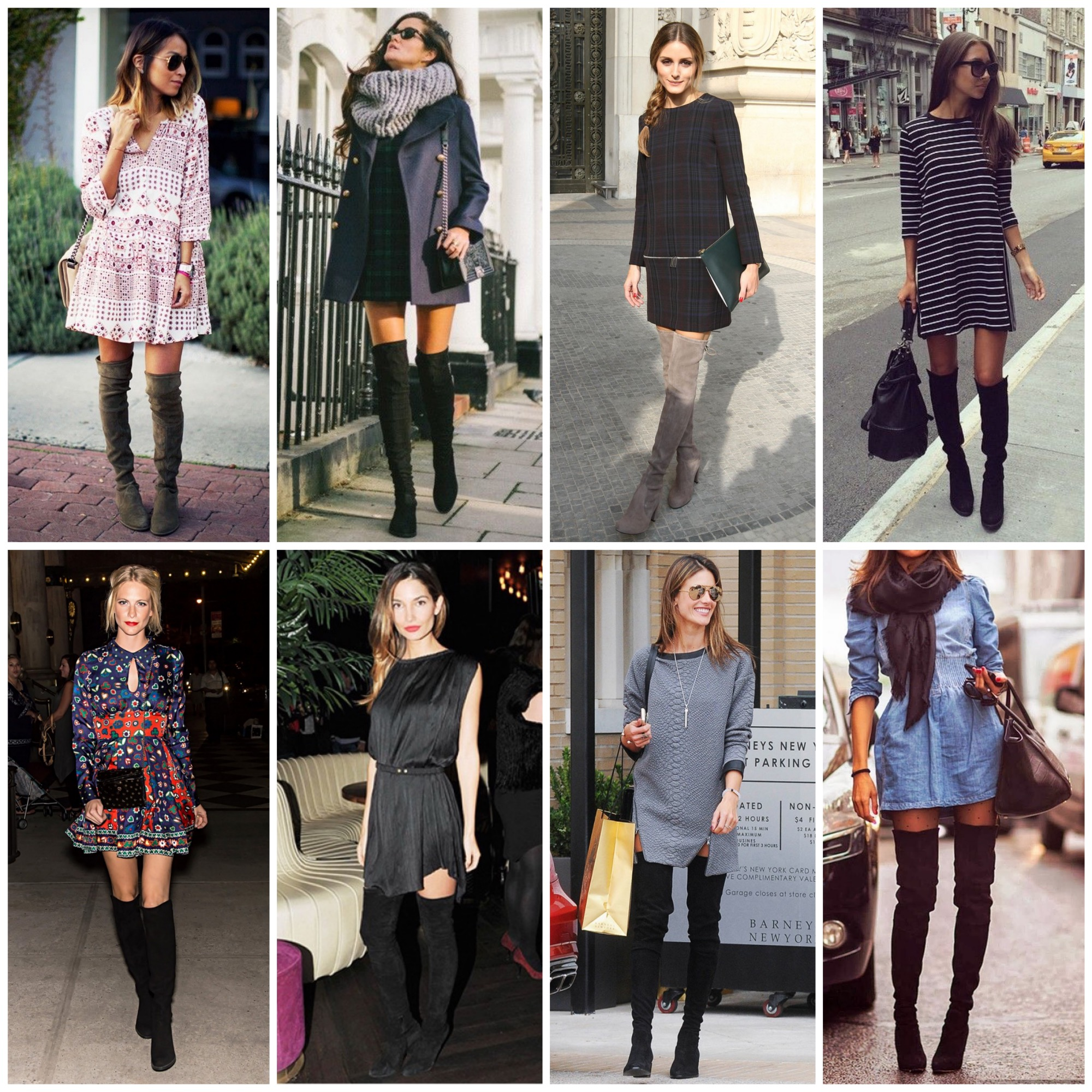 Wear over the knee boots with a dress