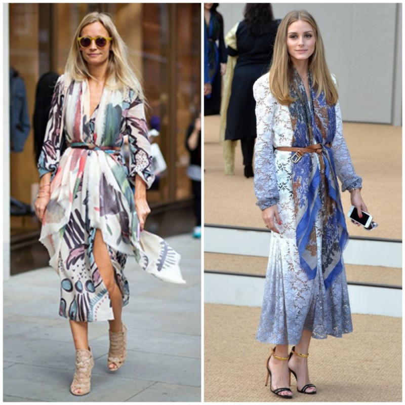 Poppy Delevingne & Olivia Palermo wearing a belt over a scarf