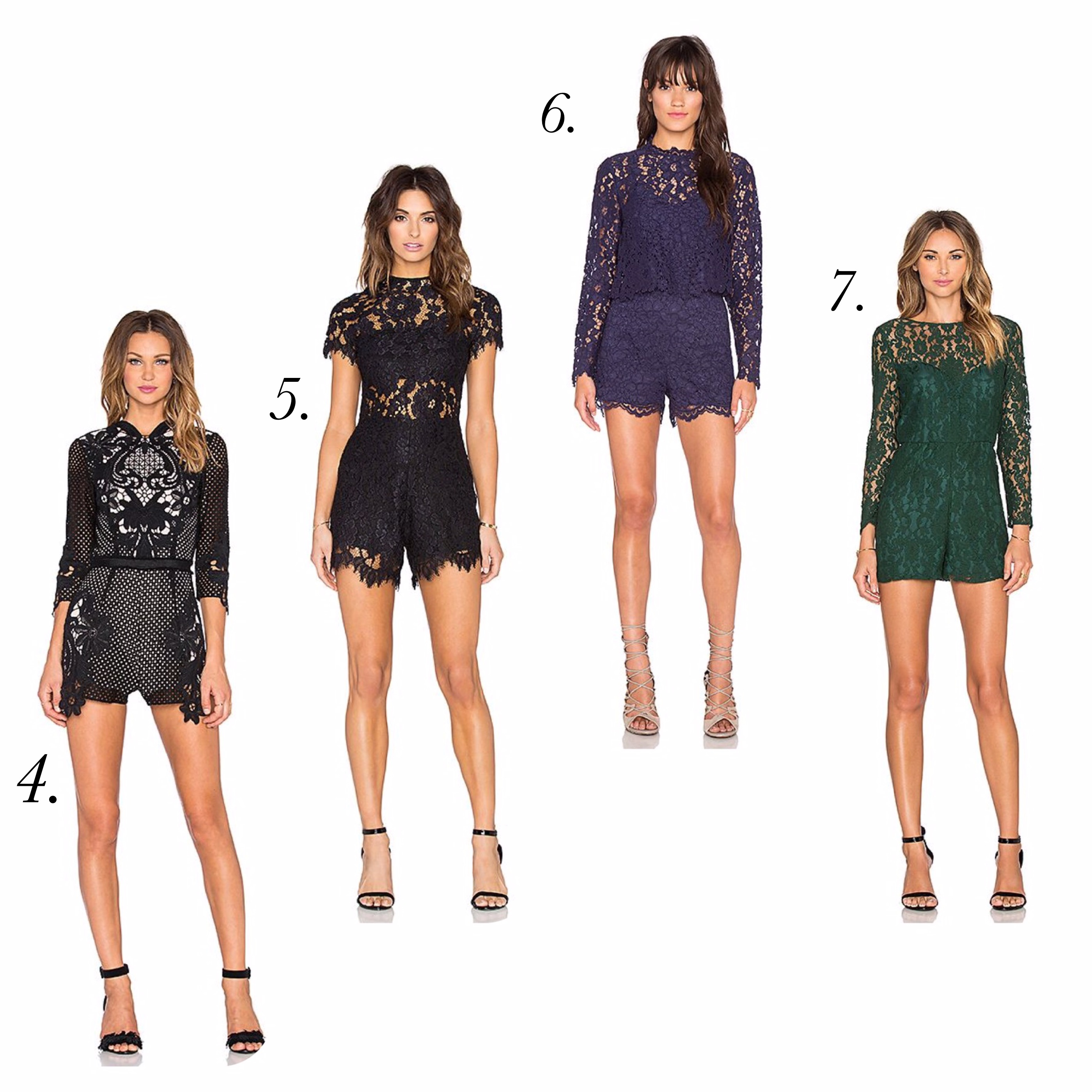 Black Lace Rompers - Revolve