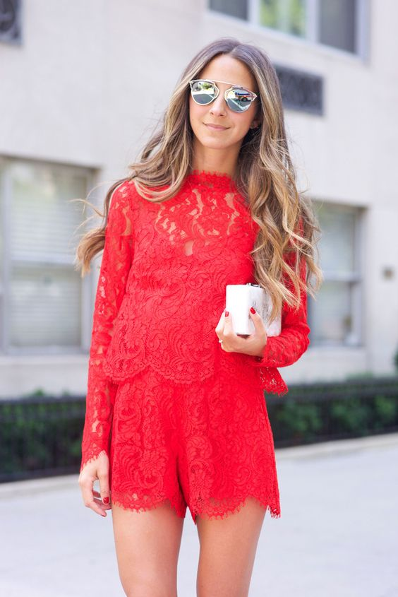 Revolve Red Lace Rompers - Something Navy