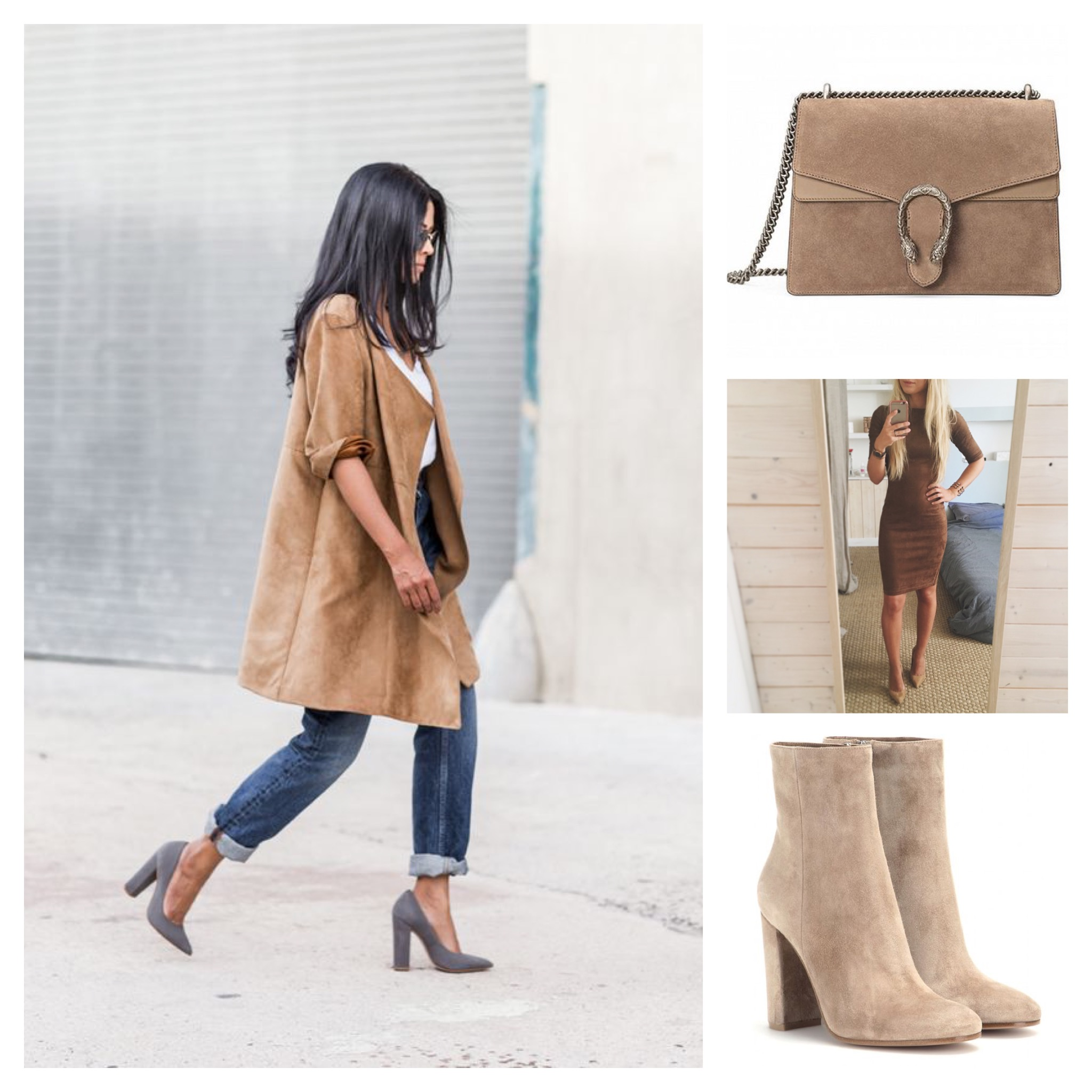 Suede Dress, Shoes and Bag