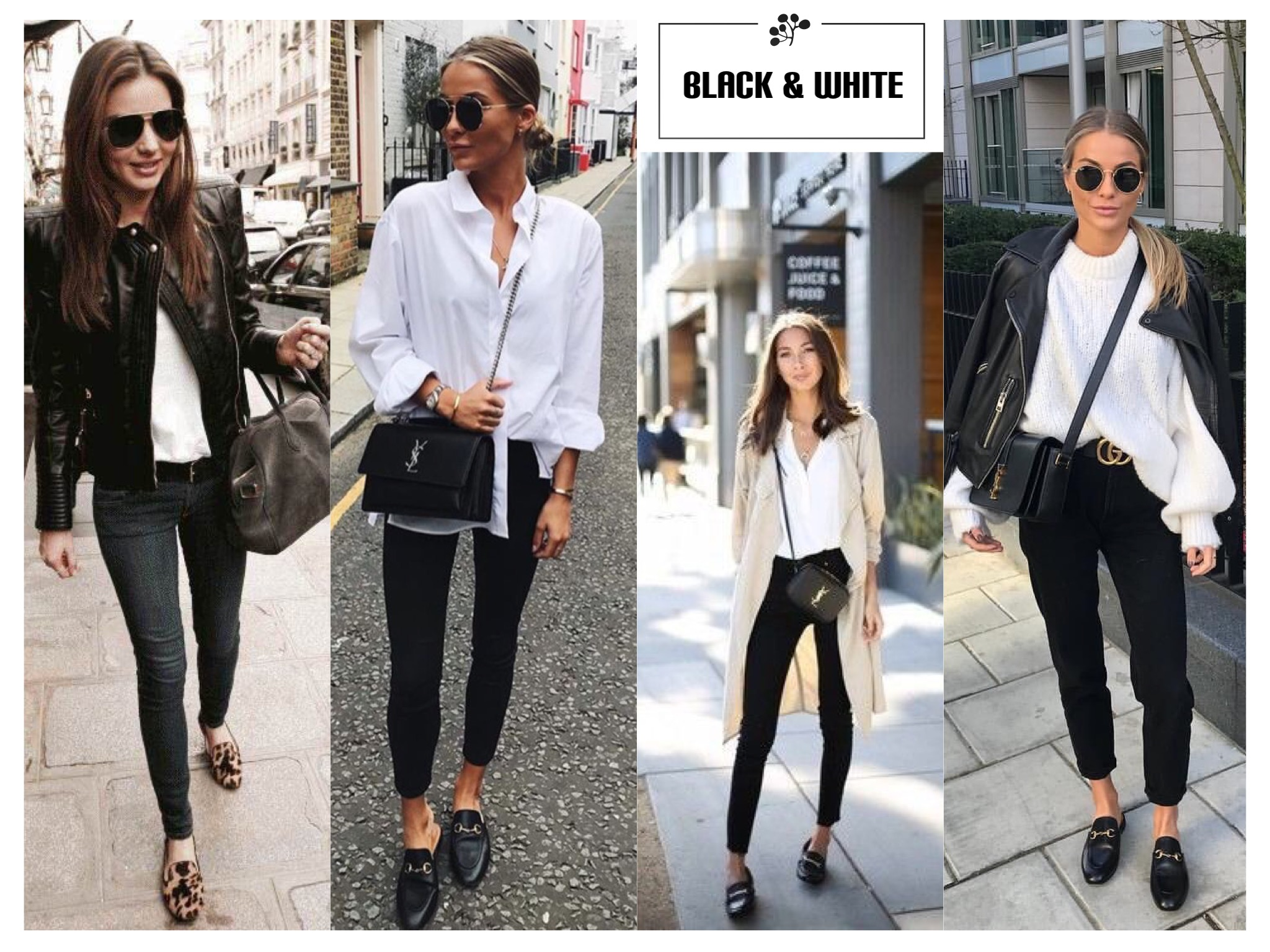 Black & White outfit pair with loafers