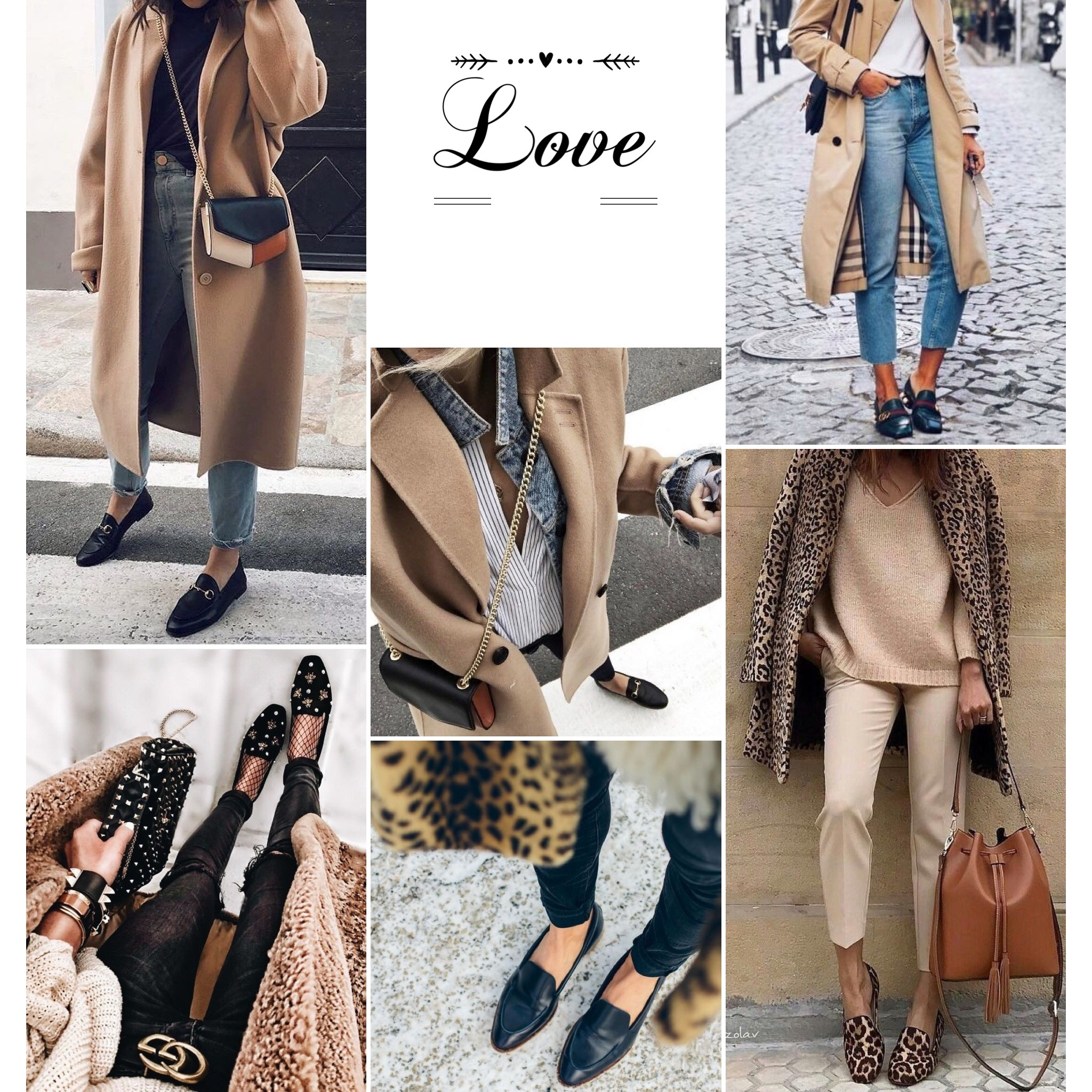 Beige coat & Loafers